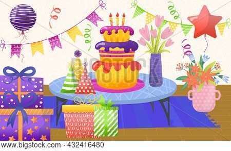 Cheerful Celebrate Birthday Party, Birth Cake Candle With Balloon, Bouquet Flower Flat Vector Illust