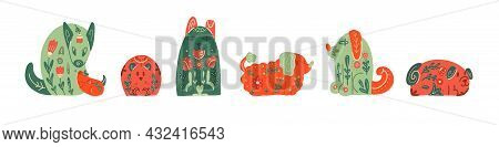 Set Of Dogs Of Different Breeds With Folk Ornament. Pets With A Floral Decoartions. Vector Stylized