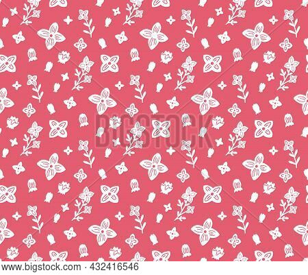 Seamless Pattern With Small White Flowers On Pink Background. Silhouettes Of Stems With Flowers And