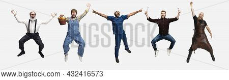Collage Of Happy Men, Professor, Farmer, Doctor, Smith And Architector Jumping Isolated On White Stu