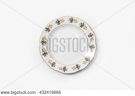 Luxury Vintage Porcelain Tableware - Cake Plate On White Background, Top View