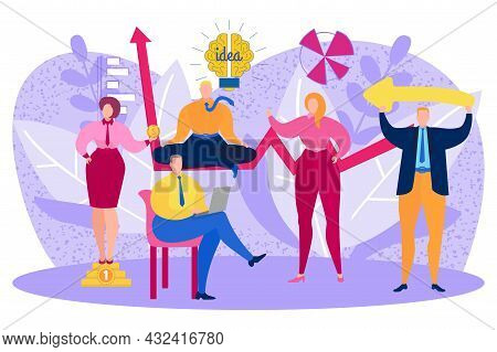 Business People Character Teamwork Creative Idea With Light Bulb, Office Clerk Work Together Flat Ve