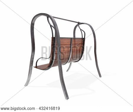 3d Render Park Bench And Street Lamp On White Background.