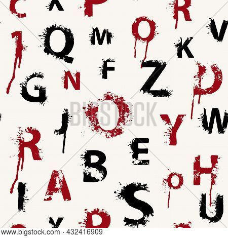 Seamless Pattern With Latin Letters In Form Of Red And Black Paint Blots And Splashes On A Light Bac