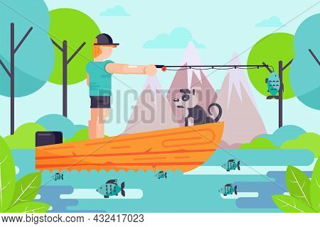 Outdoor Hobby Male Character Fisherman Hold Fishing Rod, Man With Dog Relax In Boat Flat Vector Illu