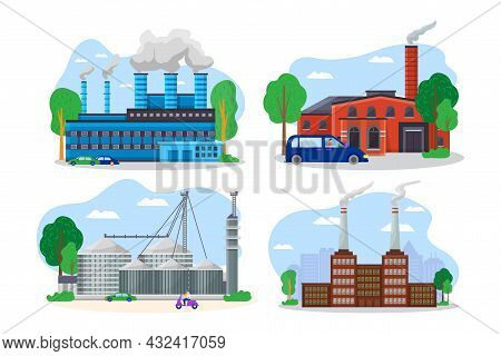 Modern Factory Building Cityscape View, Mechanical Plant Pipe Discharge Environmental Pollution Flat