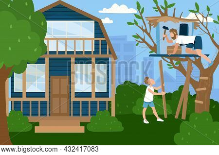 Friendly Family Character Father With Son Together Spend Time Build Tree House, Country Home Flat Ve