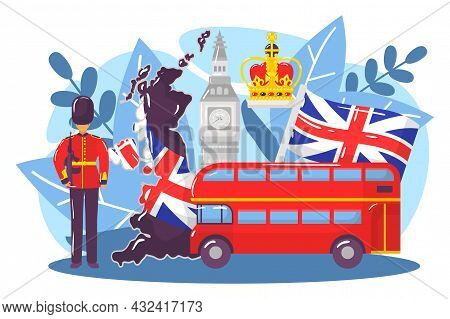 Great Britain Country Research Concept, World European London Stereotype Big Ben, Monarchy Flat Vect