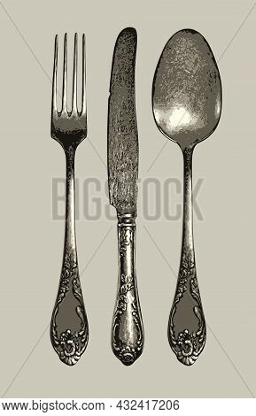 Set Of Realistic Cutlery In Retro Style. Vector Illustration Of Antique Silverware Or Flatware. Beau