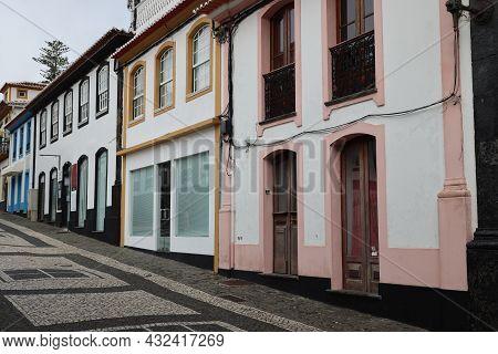 The Colorful Houses Of Praia Da Vitoria, Terceira Island, Azores. High Quality Photo