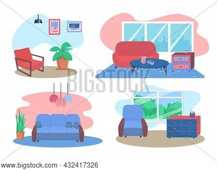 Comfortable Couch Relax Living Room Furniture, Design Concept Set Lounge Sitting Room Flat Vector Il