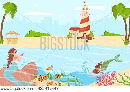 Magical Mermaid Sea Creature Swim Near Tropical Country Beach And Lighthouse, Ocean Character Nymph