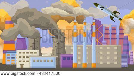 Modern Technogenic Accident Nuclear Pollution, Environmental Contamination Smoke Air Flat Vector Ill
