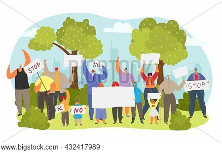 People Character Group Together Demonstration Protest With No, Stop Text Tablet, City Outcry Flat Ve
