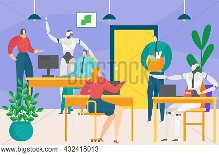 Business Office Future Digital Technology Artificial Intelligence Robot Work With People Clerk Chara