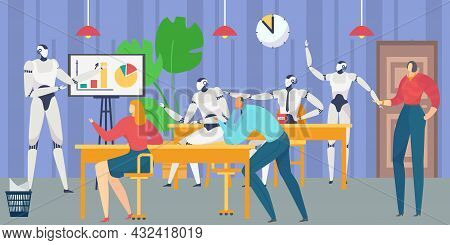 Office Business Employees Clerk Character Cooperation With Future Digital Technology Artificial Inte