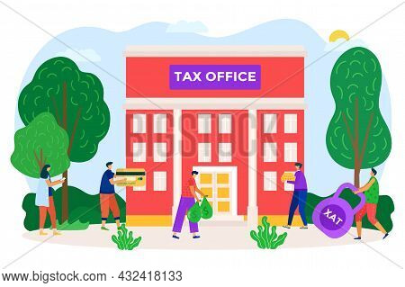 State Tax Department Building, People Character Taxpayer Together Pay Fee Charge To Office Flat Vect