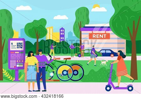 Urban Transport Service Rent, People Character Together Lease Bicycle, Scooter And Personal Automobi