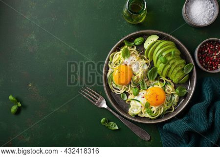 keto low carb breakfast baked spiralized zucchini with eggs and avocado