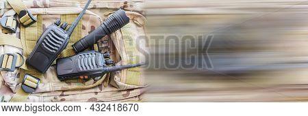 Portable Radio Set, Army Radio. Equipment For Trekking. Set Of Traveler Or Tourist Or Soldier. Radio