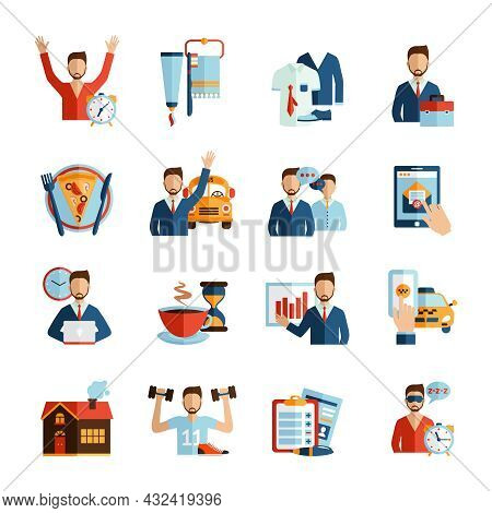Man Daily Routine Icons Set Day Work And Rest Life Schedule Isolated Vector Illustration