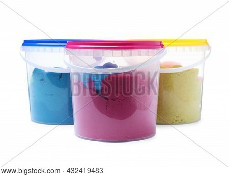 Kinetic Sand And Toys In Buckets On White Background