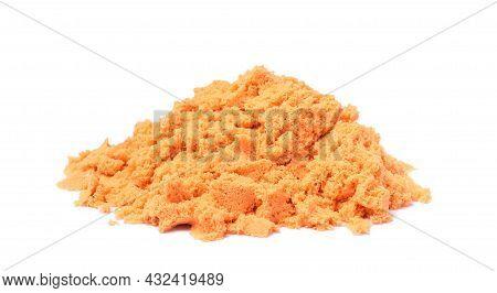 Pile Of Orange Kinetic Sand On White Background