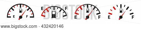 Fuel Gauge Indicator Meter. Gasoline Indicators Auto Vector Icons Set. Gas Meter Icon Collection. St