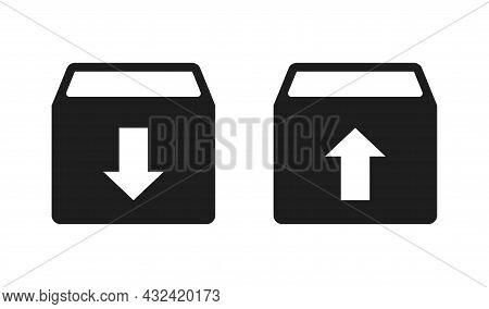 Download Box Icons Set. Download And Upload Arrow Button. Archive Vector Icons Collection Isolated O