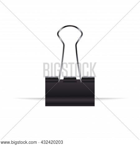 Realistic Paper Binder. Clamp Paper Sheet Isolated On A White Background. Vector Illustration.