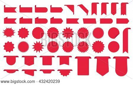 Discount Red Blank Ribbons, Starburst, Banners Icons Collections. New Promotion Label Set. Sale Tags