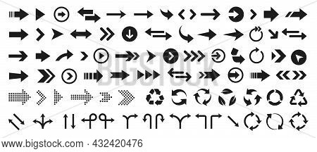 Abstract Arrow Icon Set For Web Design. Arrow Button Symbol. Navigation Pointer. Cursor Sign. Arrows