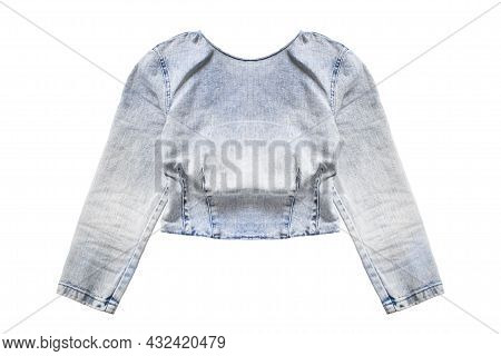 Faded Denim Long Sleeves Crop Top Isolated Over White
