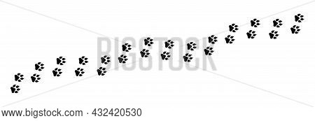 Paw Foot Print Vector Illustration. Paw Trail Isolated On White Background. Silhouette Of Animal Pat