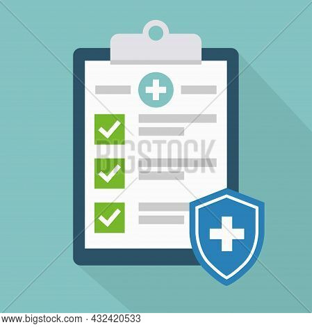Medical Clip Board With Checklist Vector Illustration. Clipboard Icon In Modern Flat Style. Diagnost