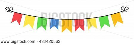 Birthday Colorful Garland With Bunting Flags. Festive Garland For Decoration Holiday. Carnival Decor