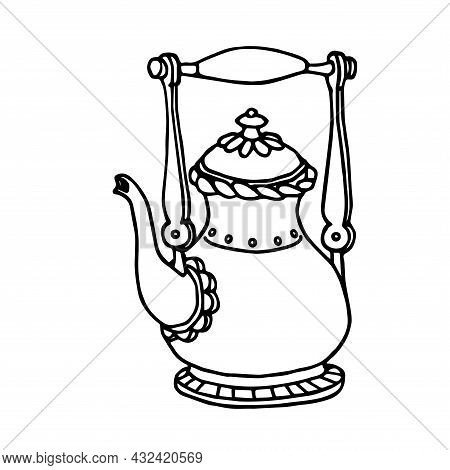 Old Copper Decorative Teapot, Household Element, Vector Illustration With Black Ink Contour Lines Is