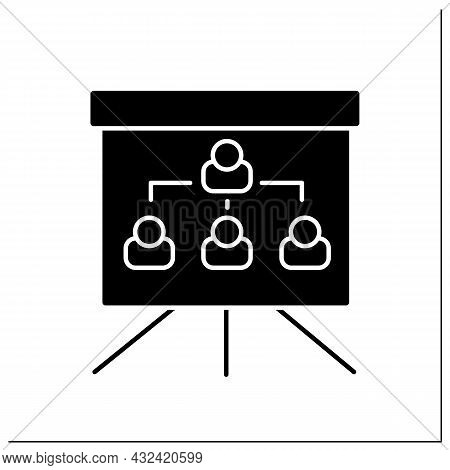 Organization Chart Glyph Icon. Company Internal Structure. Divide Roles, Responsibilities Between In