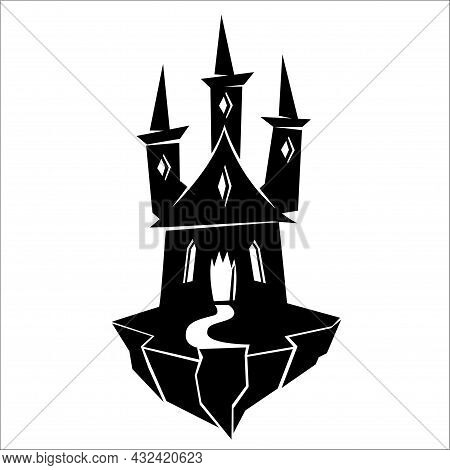 Scary Halloween Mansion Silhouette. Vector Illustration Isolated On White Background
