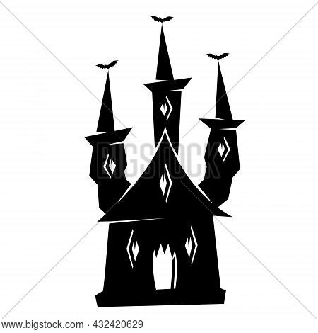 Halloween Haunted Castle Silhouette. Vector Illustration Isolated On White Background