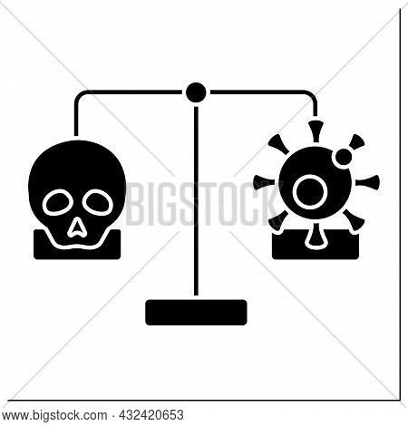 Mortality And Morbidity Glyph Icon. Specific Illness Or Condition. Number Of Deaths Due To Illness O