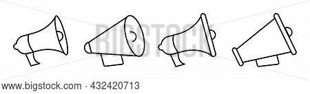 Megaphone Icons In Vintage Style On White Background. Loudspeaker Line Symbols Set. Bullhorn Differe