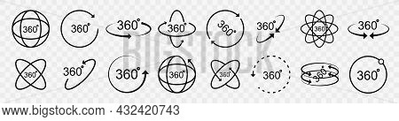 360 Degrees Vector Icon Set. Round Signs With Arrows Rotation To 360 Degrees. Rotate Symbol Isolated