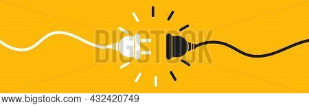 Electric Socket With Plug. Electrical Outlet Vector Icon Isolated On Yellow Background. Connect Disc