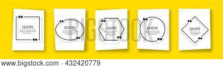 Quote In Frame With Quotation Marks On Yellow Background. Bubble Quote Boxes With Brackets. Banners