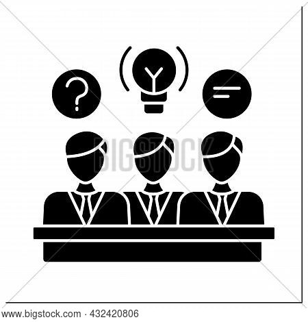 Directors Board Glyph Icon. Elected Group Of Individuals Represent Shareholders. Governing Body For