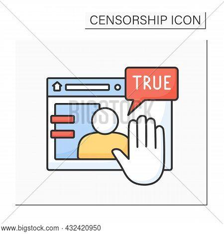 Deplatform Color Icon. Limitation Actions On Particular Website.unacceptable Person. Persona Non Gra