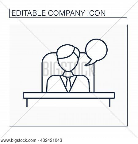 Director Line Icon. Leader Of Employees.manage, Organize And Control Task Doing. Big Boss.company Co