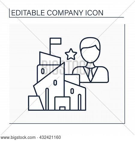 President Line Icon. Executive Group Leader. Chief Operating Officer. Exercises Control And Manageme