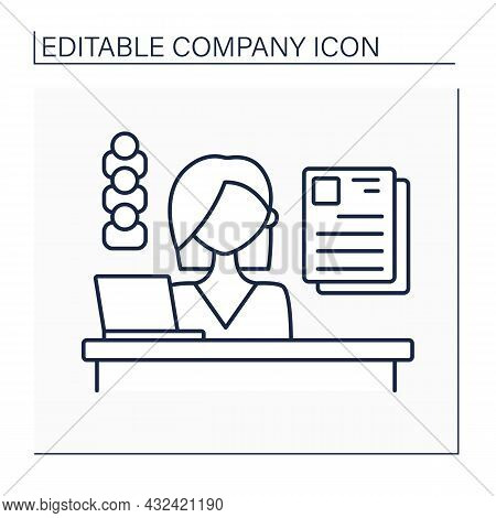 Personnel Department Line Icon. Department Dealing With Matters Employees. Hiring, Training, Labor R
